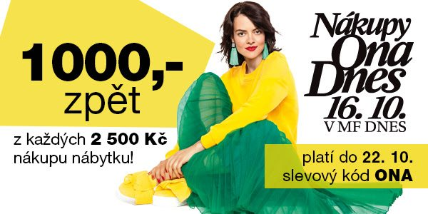 1000 Kč zpět z každých 2500 Kč nákupu nábytku na Sconto.cz